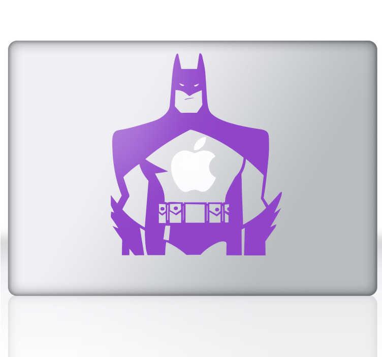 TenVinilo. Vinilo decorativo Batman para Mac. Personaliza tu dispositivo Mac con un adhesivo decorativo. Incluso en el corazón de Batman late la manzana de Mac.