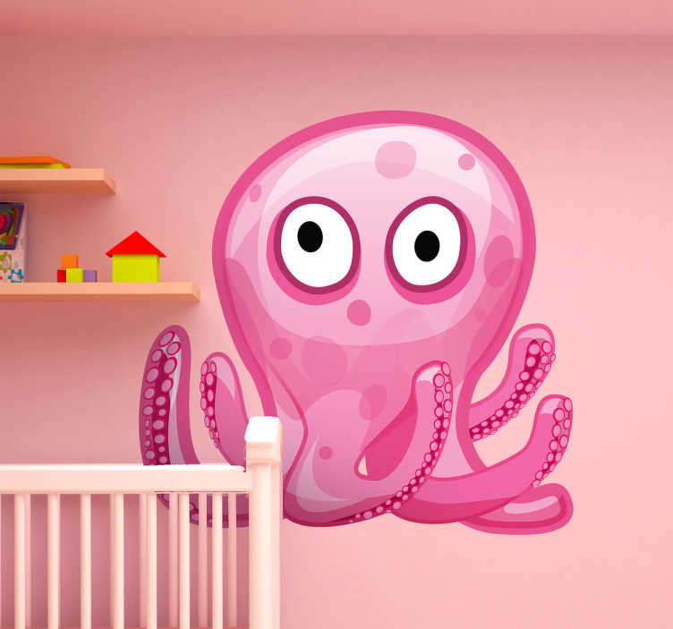 TenStickers. Pink Octopus Kids Sticker. Fun kids sticker of cute pink octopus, from our collection of cartoon animal stickers. This lovely pink octopus with its large eyes is perfect for creating a fun and unique atmosphere for your child's bedroom, especially if they are a lover of fish and other sea creatures!