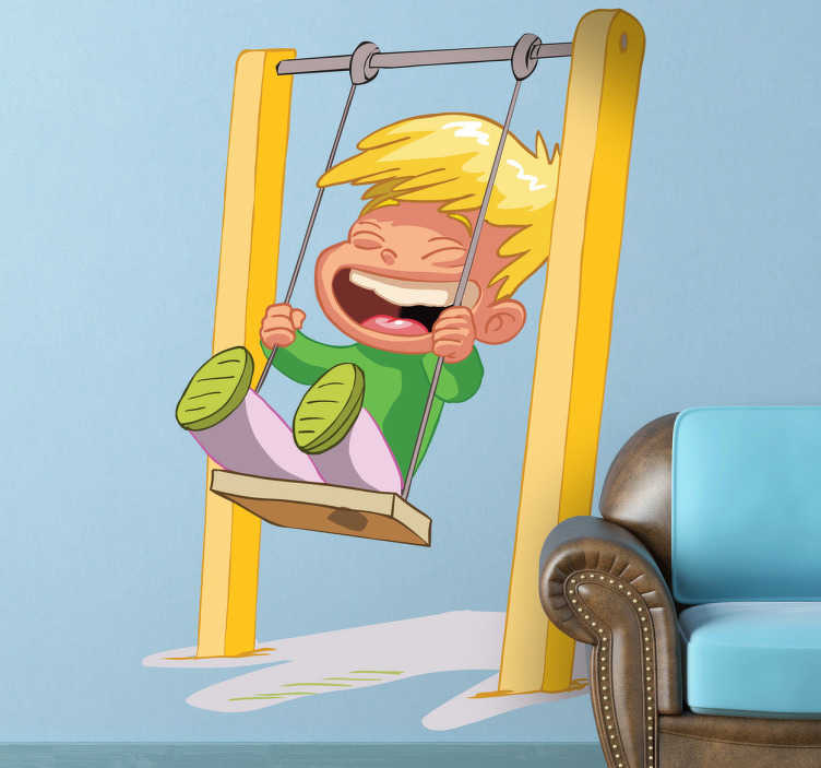 TenStickers. Child on Swing Wall Sticker. A kids wall sticker illustrating a small blonde boy having fun on a swing! A colourful decal to decorate your kids playroom.