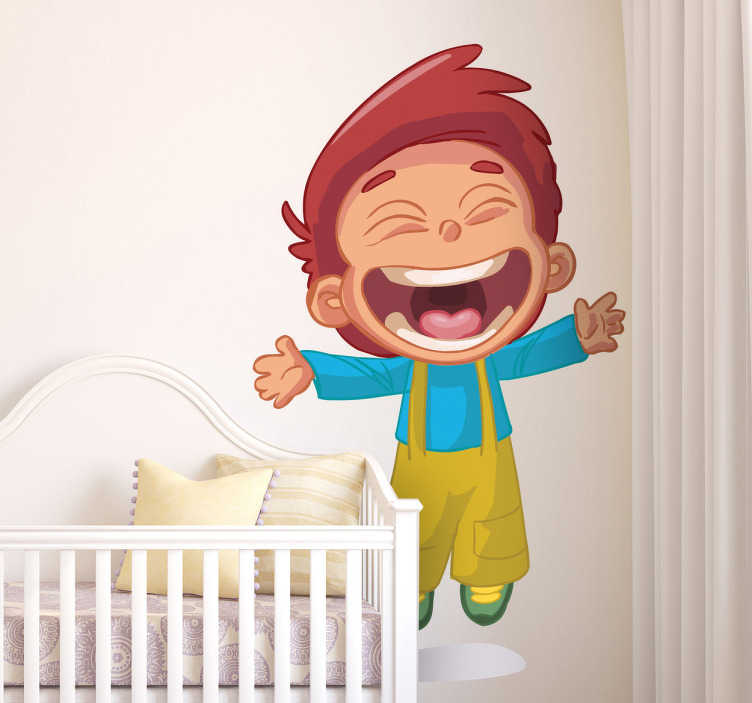 TenStickers. Naklejka uśmiechnięty chłopiec. Zabawna naklejka na ścianę przedstawiajaca rozbawionego chłopca. Pozytywna naklejka, która stworzy niepowtarzalny styl w pokoju Twojej pociechy.