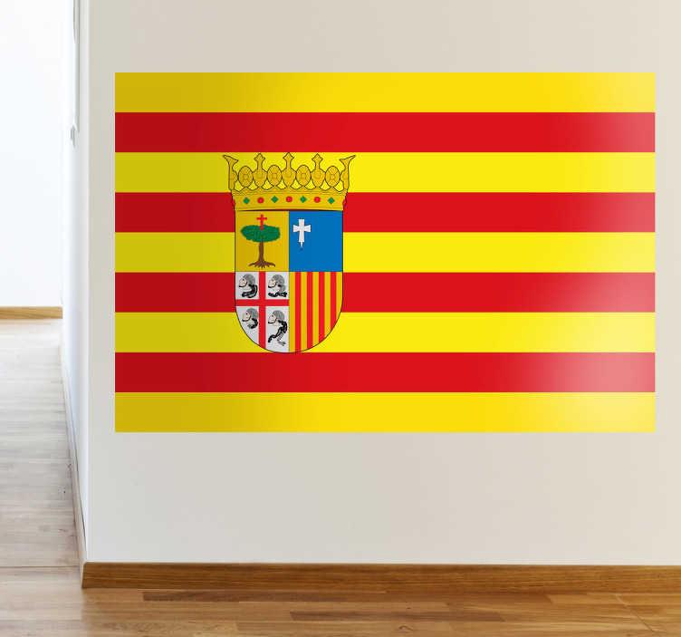 TenVinilo. Vinilo decorativo bandera Aragón. Adhesivo especial para maños de pro con la bandera cuatribarrada y el escudo de la comunidad.