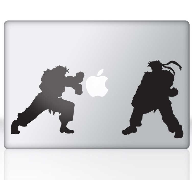 TenVinilo. Vinilo decorativo Street Fighter para Mac. Personaliza tu dispositivo Mac con un adhesivo decorativo. Fantástico juego de lucha combinado en un diseño para Apple.