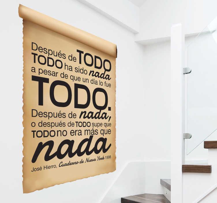TenVinilo. Adhesivo poema Hierro papiro. Poema íntegro sobre papel antiguo y atractivo diseño en pegatina de un trabajo del famoso escritor madrileño.