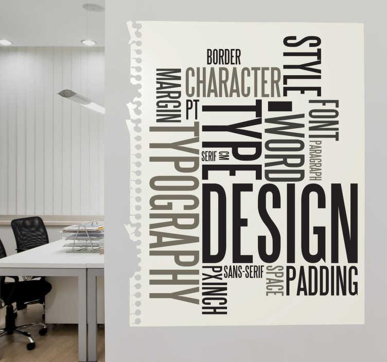 Typografi tekst wallsticker