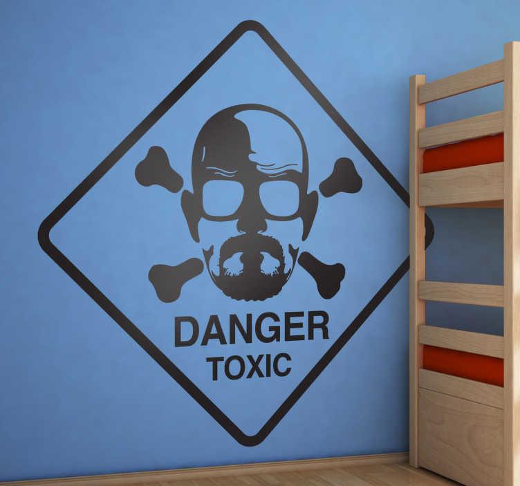 """TenStickers. Naklejka Breaking Bad. Naklejka dekoracyjna z serialu """"Breaking Bad"""" przedstawiająca podobiznę głównego bohatera na logo produktów niebezpiecznych."""