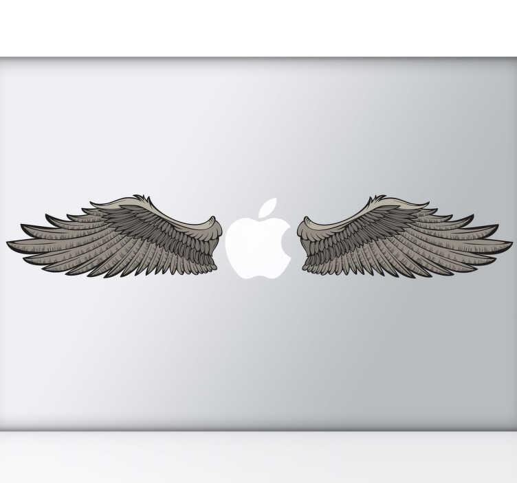 TenStickers. Naklejka dekoracyjna na laptop skrzydła. Personalizuj Swój laptop wyjątkową naklejką przedstawiającą skrzydła gotowe do lotu, które ładnie komponują się z logo marki Apple.