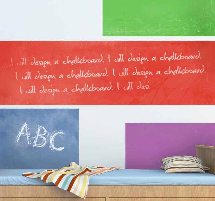TenStickers. Adesivo murale lavagna vari colori. Lavagna adesiva ritagliabile, disponibile nei colori: BLU, MAGENTE, VIOLA, GRIGIO, MARRONE, ROSSO e VERDE.
