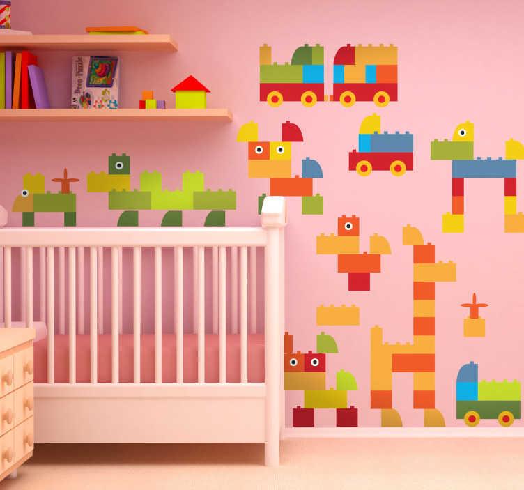 TenStickers. Sticker constructions de lego. Stickers pour enfant illustrant un ensemble de figurines LEGO.Super idée déco pour la chambre d'enfant et tout autre espace de jeux.*Les dimensions indiquée valent pour l'ensemble du stickers.