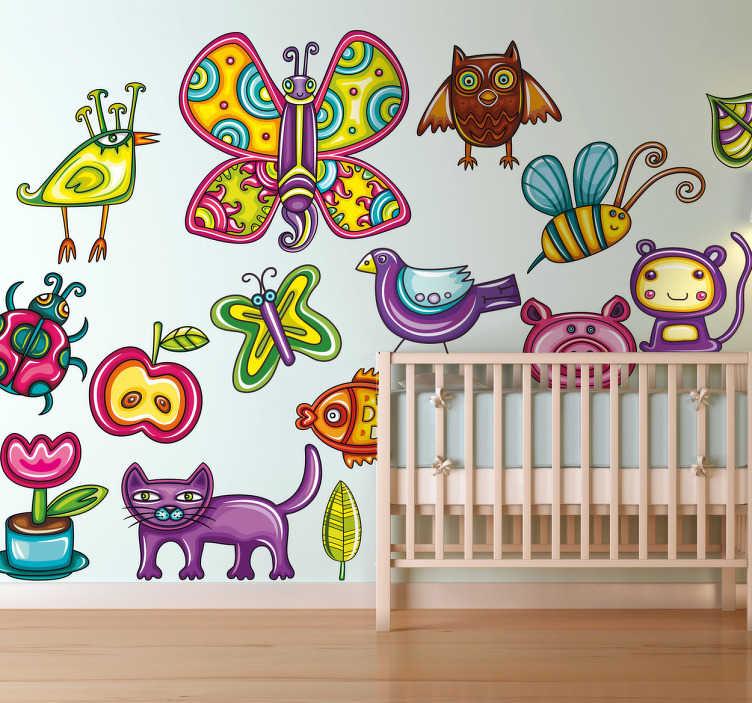 TenStickers. Naklejka kolorowe zwierzęta. Kolekcja naklejek dekoracyjnych z różnymi zwierzętami, a także kwiatem i jabłkiem.