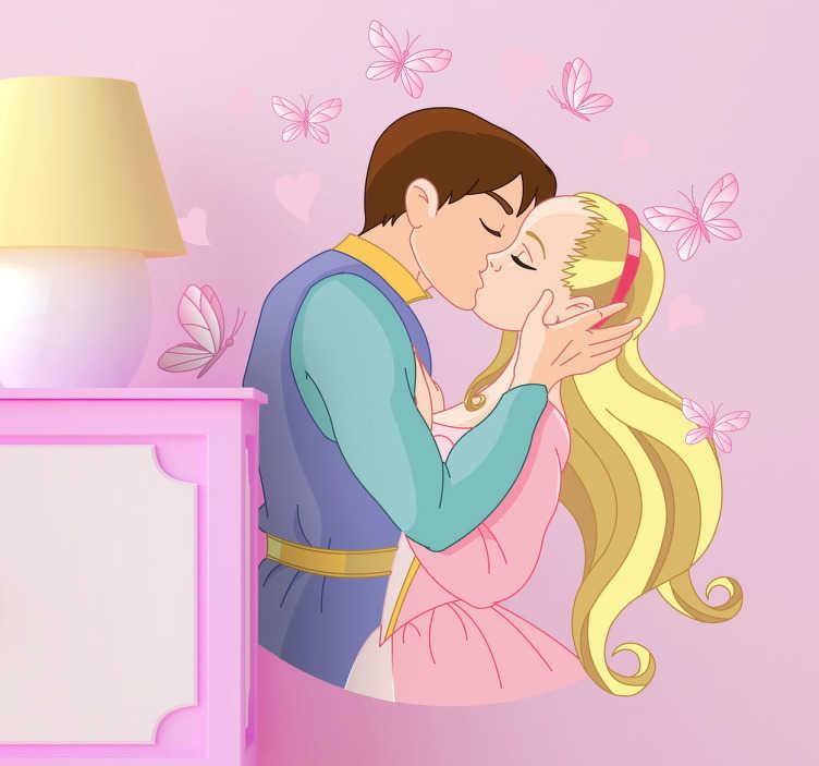 TenStickers. Sticker kinderen kus princes. Een romantische muursticker van de prins op het witte paard dat kust met de beeldschone blonde Princes.