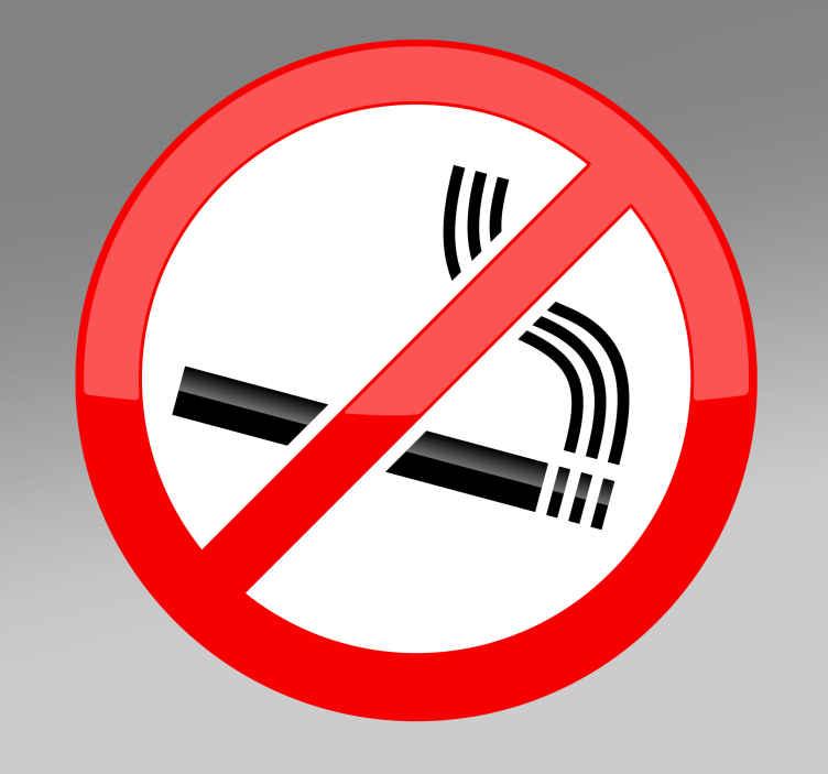 TenStickers. Naklejka zakaz palenia. Naklejka na ścianę zakaz palenia. Dzięki naszej wpadającej w oko naklejce unikniesz palenia papierosów ze strony swoich klientów.