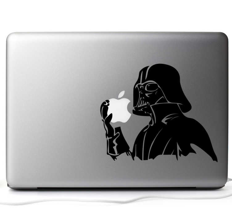 TenStickers. Naklejka na laptopa Mac Darth Vader. Udekoruj Swój Mac w wyjątkowy sposób! Naklejka z postacią Darth Vader z filmu Gwiezdne Wojny sprawi, że Twój laptop nabierze charakteru.