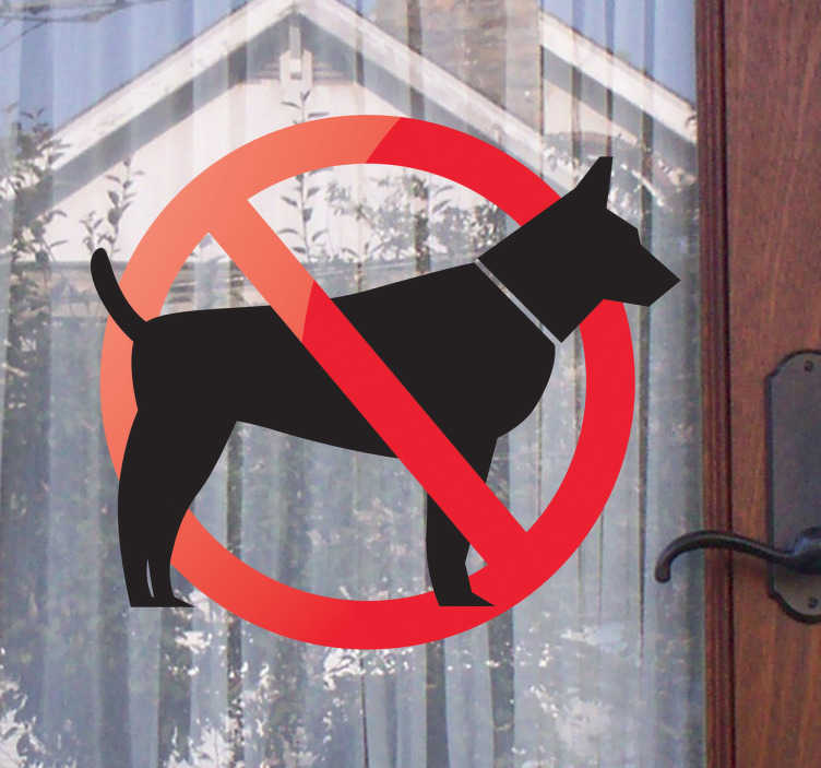 TenStickers. Autocolante decorativo proibida a entrada de cães. Autocolante decorativo ilustrando um sinal que simboliza a proibição da entrada de cães em determinado local.