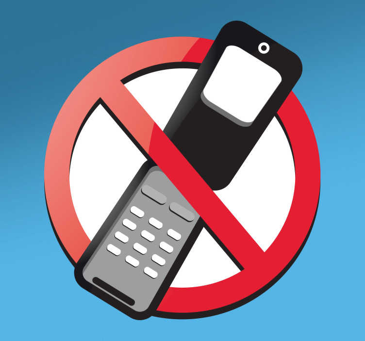 TenStickers. 휴대 전화 사인 스티커가 없습니다.. 벽 스티커에 서명하십시오 -이 눈길을 사로 잡는 디자인으로 휴대 전화가 허용되지 않는다는 것을 모두에게 알리십시오. 휴대 전화 데칼은 비즈니스에 적합하지 않습니다.