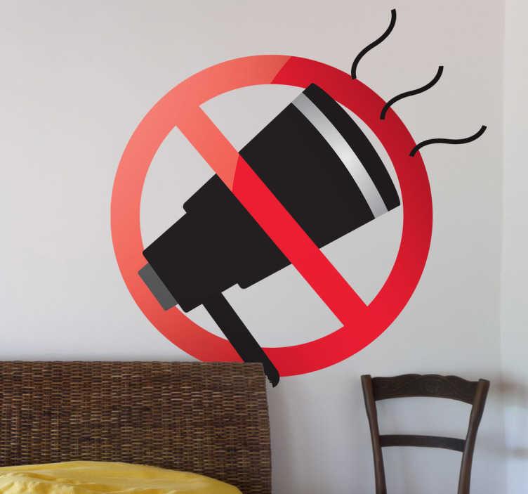 TenStickers. Adesivo sinal de sem ruído. Um adesivo para salas onde você deseja desfrutar de um pouco de paz e sossego. Disponível em vários tamanhos.