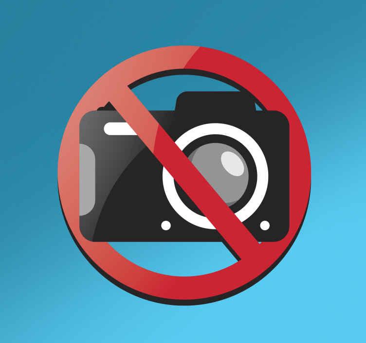 TENSTICKERS. 写真なしの壁のステッカー. 人々に写真を撮ることができないことを思い出させる明確な写真記号のステッカー。重要な場所ではカメラなしのサインステッカーを使用することができます。