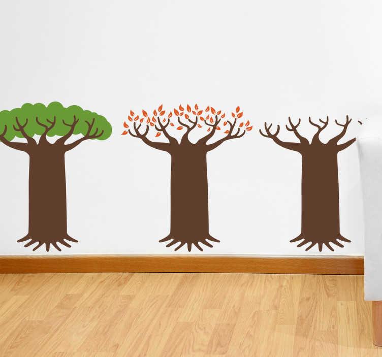 TenVinilo. Vinilo decorativo árbol caducifolio. Adhesivo con los tres estados durante el año de un roble, primero verde, luego perdiendo hoja en otoño y sin copa en invierno.