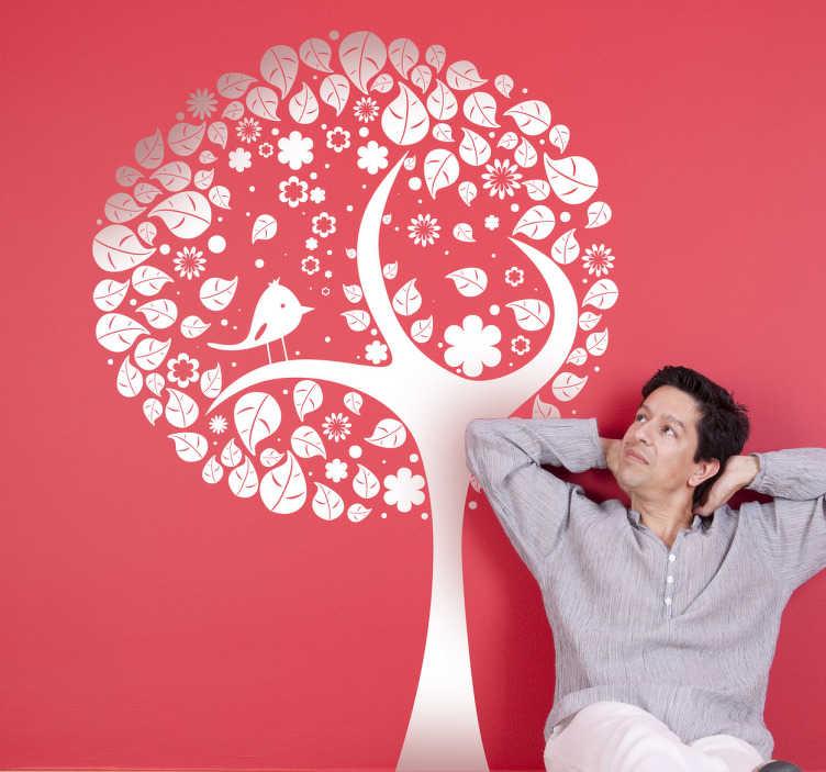 TenStickers. Sticker boom modern rond. Deze muursticker omtrent een modern ontwerp van een boom met een ronde top en een vogel tussen het gebladertje. Originele muurdecoratie.