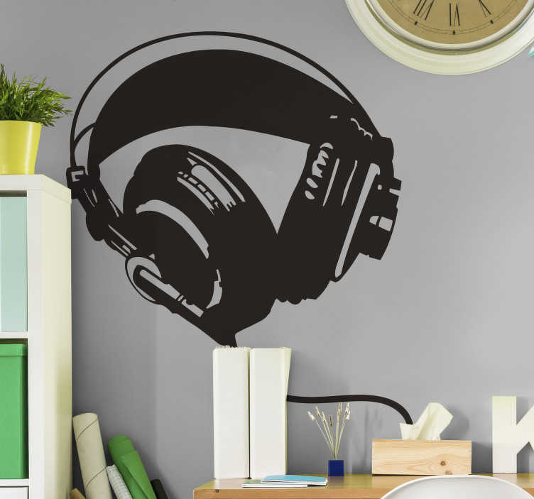 TENSTICKERS. 落書きヘッドフォンウォールステッカー. あなたの家に新しい外観を与えるために落書き壁のステッカーのコレクションからのヘッドフォンのペアのモノクロのステンシルデザイン。