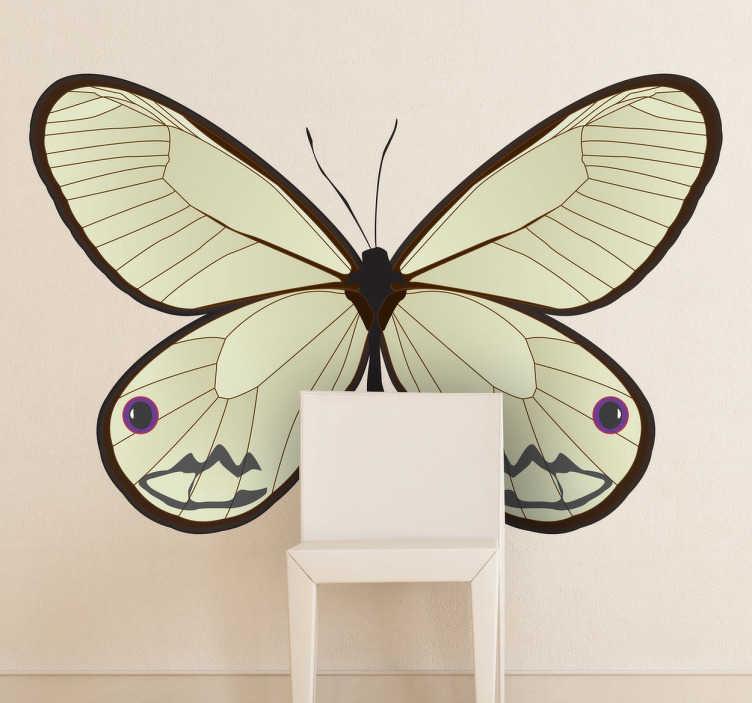 Tenstickers. Vacker fjärilsdekal. Butterfly vägg klistermärken - särskiljande design av en fjäril för att dekorera ditt hem med. Finns i olika storlekar.