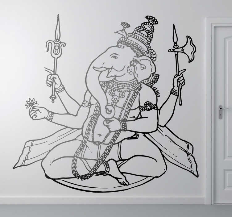TenStickers. Hindu Elephant God Decal. An elephant wall sticker which is not just a simple elephant but a Hindu God called Ganesha. A fantastic decal to decorate your walls.