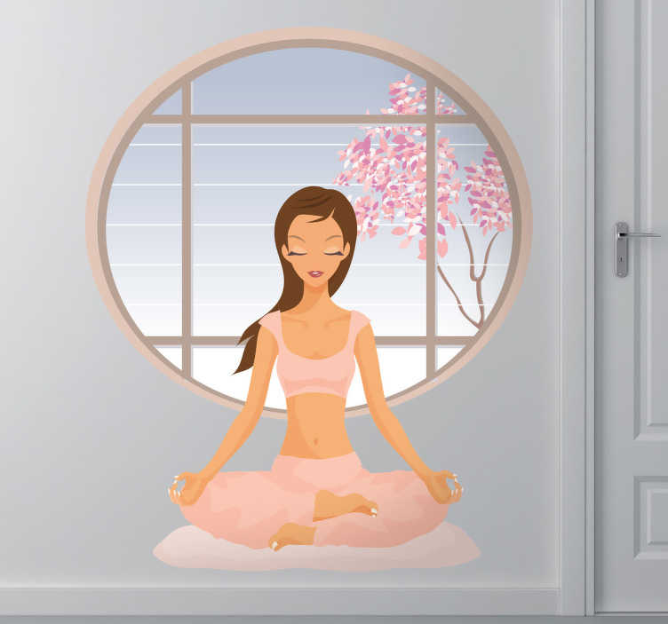 TenStickers. Peaceful Yoga Wall Sticker. Wall Stickers - Add a touch of peace and relaxation too your environment with this illustration of a female meditating. Decals.