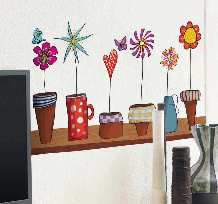 TenStickers. Naklejka dekoracyjna półka z doniczkami. Kolorowa naklejka na ścianę przedstawiająca półkę z różnymi kwiatami w doniczkach. Bardzo dobry pomysł na ozdobę pustych ścian w pokoju.