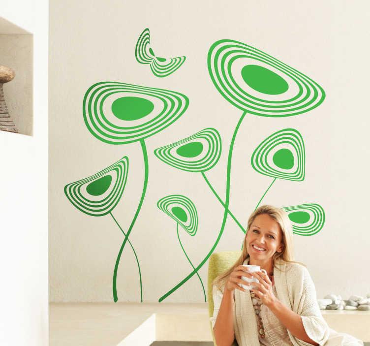 TenVinilo. Vinilo decorativo flores sinuosas. Moderno adhesivo abstracto en el que se dibujan varias plantas y una mariposa revoloteando.