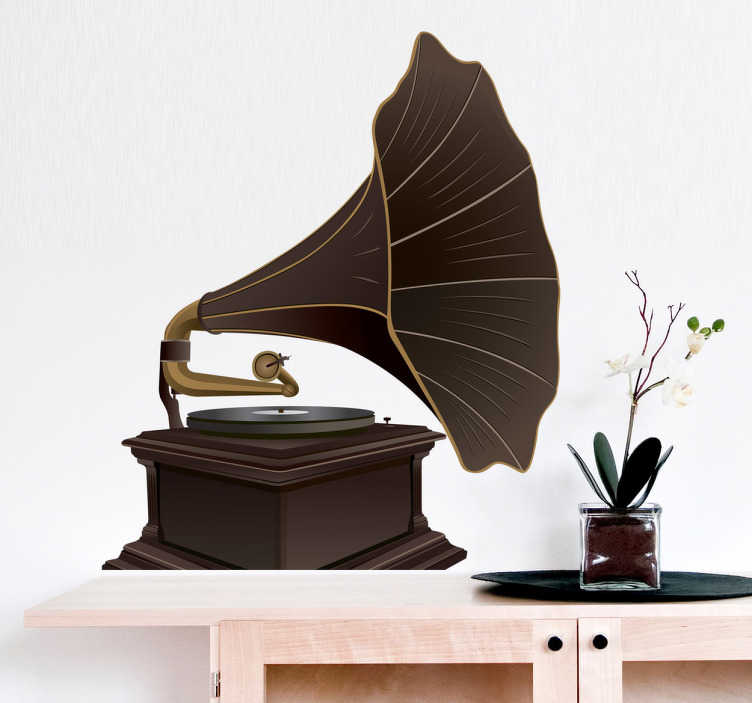TenStickers. Vinil decorativo gramofone antigo. Autocolantes decorativos de música de uma ilustração de um velho gramofone vintage. Recurso retro ideal para amantes de música e antiguidades.
