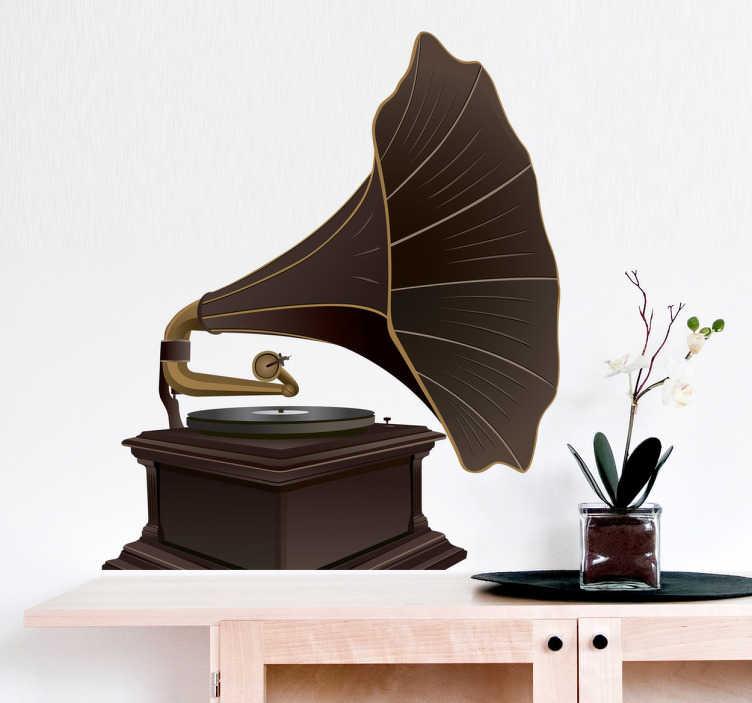 TENSTICKERS. 古い蓄音機の壁のステッカー. 壁のステッカー - 古いヴィンテージの蓄音機のイラスト。音楽やアンティークの愛好家に最適なレトロな機能。