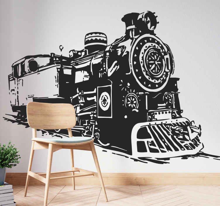 TenStickers. Railway Locomotive Decorative Sticker. Wall sticker illustrating an spectacular and detail design of a vintage railway locomotive.
