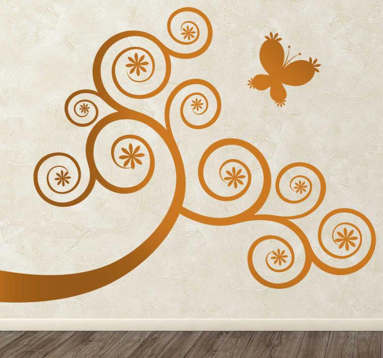 TenStickers. Naklejka gałąź z motylem. Naklejka na ścianę inspirowana światem natury. Obrazek dostępny jest w różnych rozmiarach i w szerokiej gamie kolorystycznej.