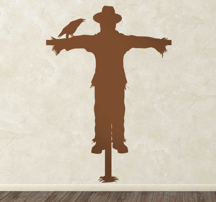 TenStickers. Silhouette Scarecrow Wall Sticker. Wall Stickers - Get rid of unwanted guest birds with this silhouette design of a scarecrow. Available in various sizes and in 50 colours.