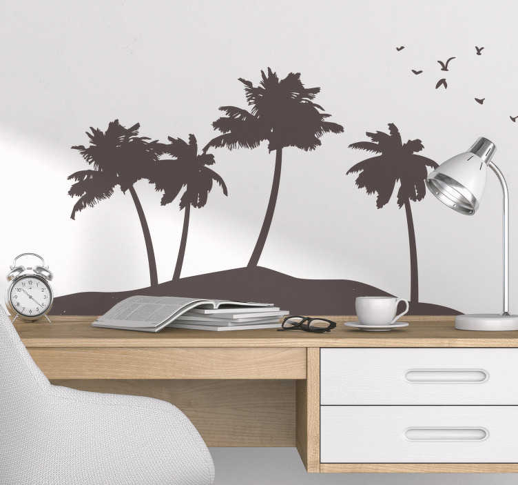 TenStickers. Naklejka wyspa z palmami. Nakleja dekoracyjna przedstawiająca fragment ziemi i wiele urodziwych palm. Idealna naklejka dla wszystkich, którzy tęsknią za słońcem, plaża i egzotycznymi palmami.