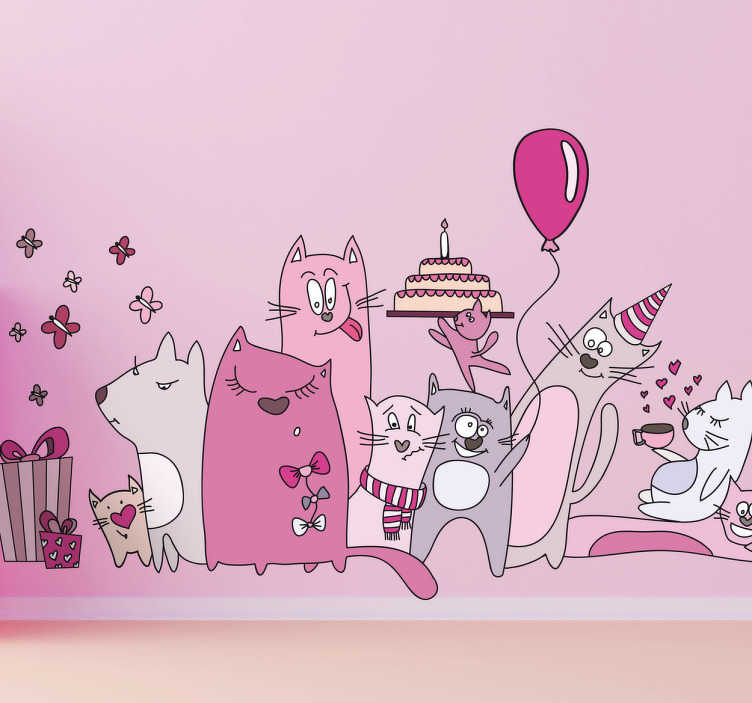 TenStickers. Kids Cat Pink Cat Party Wall Sticker. Kids Wall Stickers - Playful and fun illustration of a group of cats celebrating a birthday. Ideal for decorating areas for children and events.
