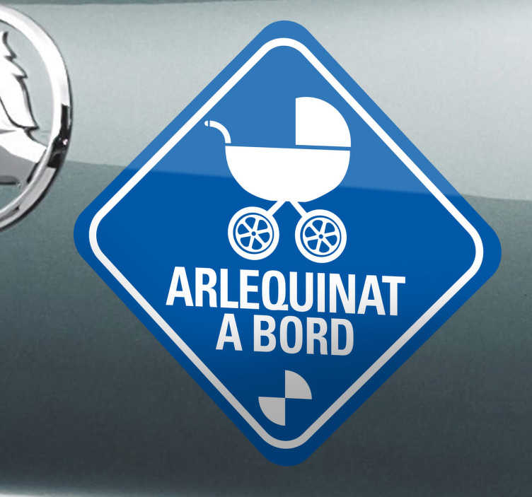 TenStickers. Vinilo decorativo arlequinat coche. Demuestra que eres un buen aficionado del Sabadell con este original adhesivo para tu automóvil.