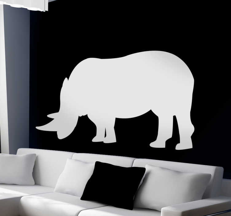 TenStickers. Rhino Silhouette Wall Sticker. Wall Stickers  - Silhouette design of an Rhino. Distinctive and ideal for decorating any space. Select a size and colour.