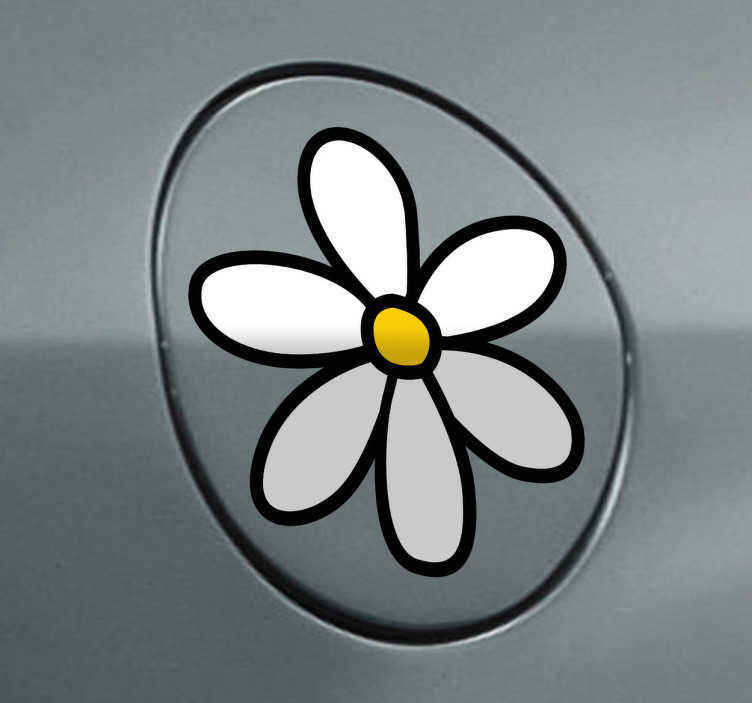 Tenstickers. Daisy bil klistremerke. Et klistremerke med seks hvite blomsterblad som du ser på mange biler i byen din. Strålende dekal fra vår samling av tusenfryd vegg klistremerker.