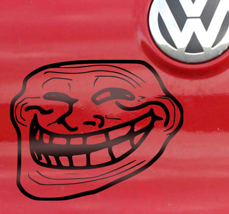 TenStickers. Troll Face Decorative Sticker. A decorative sticker of the famous troll face that appears everywhere in social media networks such as Facebook and Instagram.