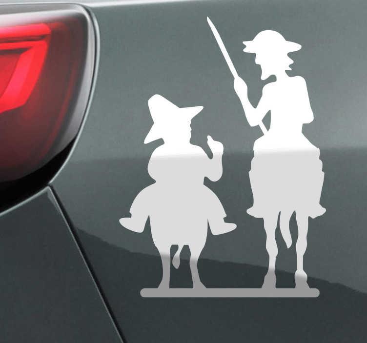 TenStickers. Naklejka Don Kichot i Sancho Pansa. Jeżeli jesteś fanem Cervantesa, ta naklejka jest dla Ciebie. Urocza naklejka na samochód przedstawiająca Don Kichota i jego przyjaciela, Sancho Pansę.