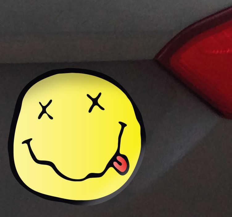 TenStickers. Sticker gezicht Nirvana. Een leuke decoratie sticker van het logo van de Amerikaanse Grunge band van Kurt Cobain. Een leuke sticker voor de fans van deze band uit de jaren 90.