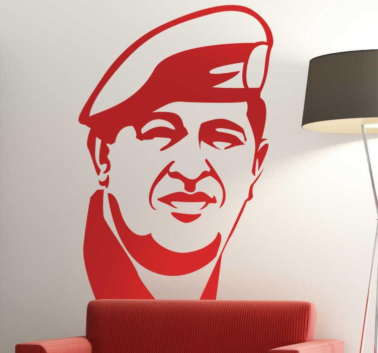 TenVinilo. Vinilo decorativo Chávez. Retrato adhesivo del desparecido líder revolucionario venezolano.