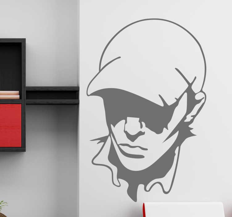 TenStickers. Junge mit Cap Sticker. Dekorativer Sticker für Wohnzimmer und andere Räume. Gestalten Sie Ihr Zuhause mit diesem Sticker für eine mysteriöse Atmosphäre.