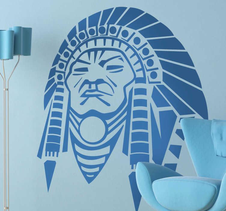 TenStickers. Sticker grand chef indien. Stickers mural représentant le dessin d'un grand chef indien avec son couvre-chef à plumes.Idée déco pour les murs de votre chambre ou pour votre salon.