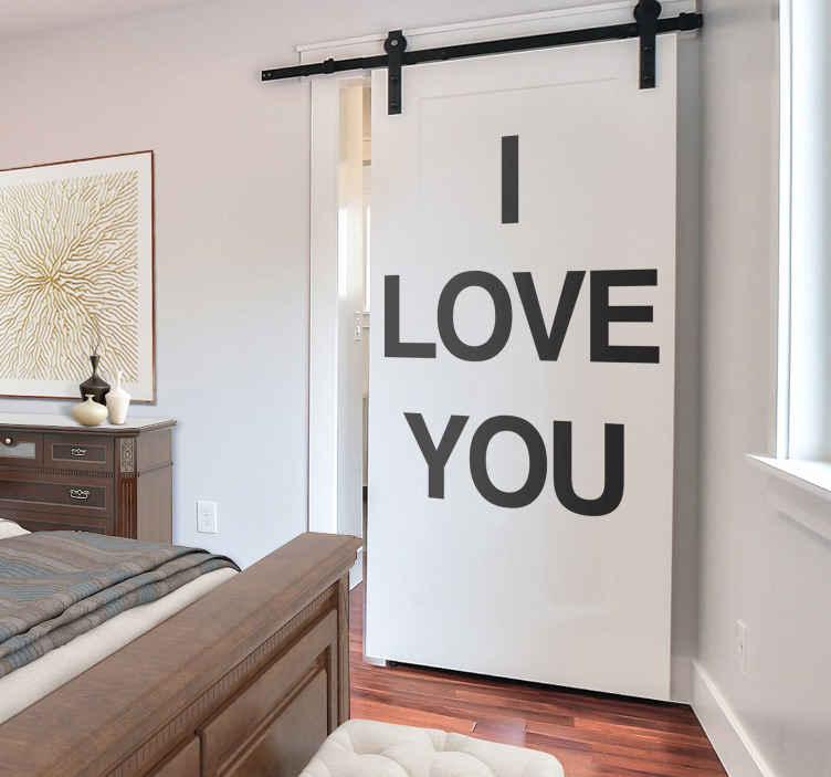 Vinilo decorativo texto I love you