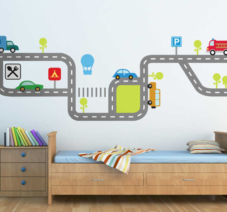 TENSTICKERS. 子供の道路交通壁のデカール. 道路上の様々な車両との交通の流れを示す美しいカラフルな車の壁のステッカー。寝室、託児所、遊び場を飾るための偉大な子供のデカール。