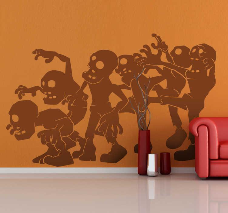TenStickers. Sticker enfant dessins zombies. Un sticker de dessin pour la chambre d'enfant représentant une ribambelle de squelettes zombies... à l'air très effrayant.