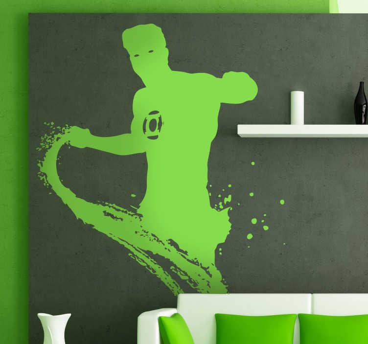 TenVinilo. Vinilo decorativo linterna verde. Adhesivo con toques de trazo de un héroe de cómic en pleno ataque.