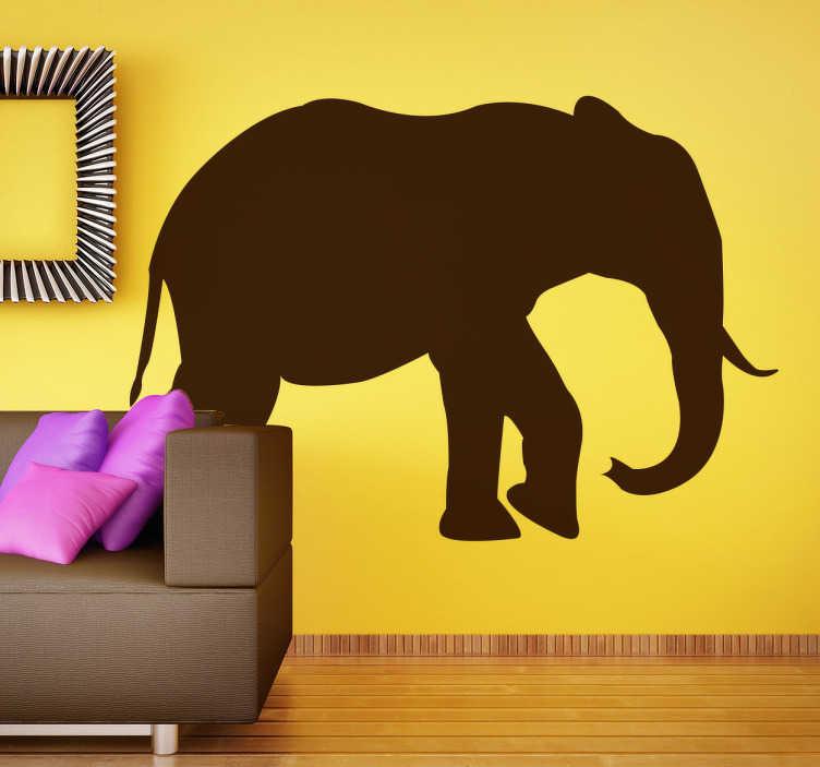 TenVinilo. Vinilo decorativo silueta elefante. Majestuoso diseño el del Vinilo Elefante con la silueta de este gran animal. Un animal que tiene que ser protegido en muchas zonas del planeta y que tu podrás disfrutar en tu salón o en el lugar de tu casa dónde decidas ubicarlo.