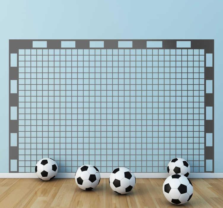 TenStickers. Autocolante decorativo baliza de futebol. Autocolante decorativo ilustrando uma baliza de futebol com rede, pensado para o público juvenil ou infantil que não consiga viver sem futebol!